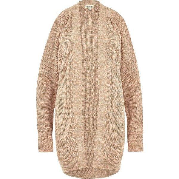 River Island Light brown knit cold shoulder cardigan ($50 ...