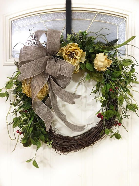 A Perfect Year Round Door Wreath With Greenery, Peonies And A Simple Burlap  Bow!