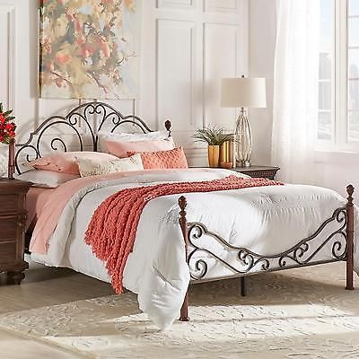 Iron Bed Frame Queen Size Scrollwork Rails and Slats Headboard ...