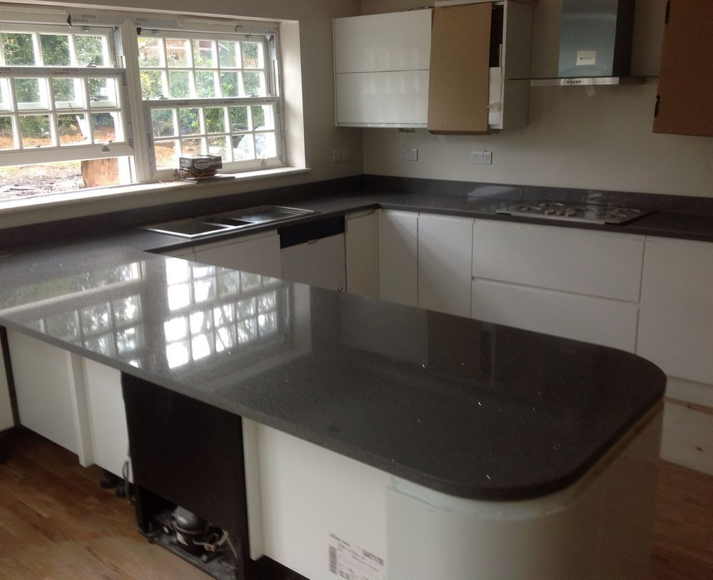 Gentil Quartz Worktop | Granite Worktop | Tempesta | Dark Grey With Mirror