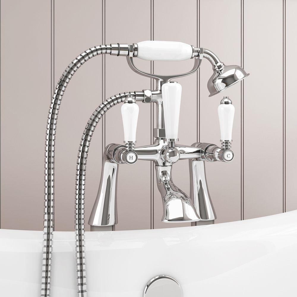 Lancaster Traditional Freestanding Chrome Bath Shower Mixer & Shower ...