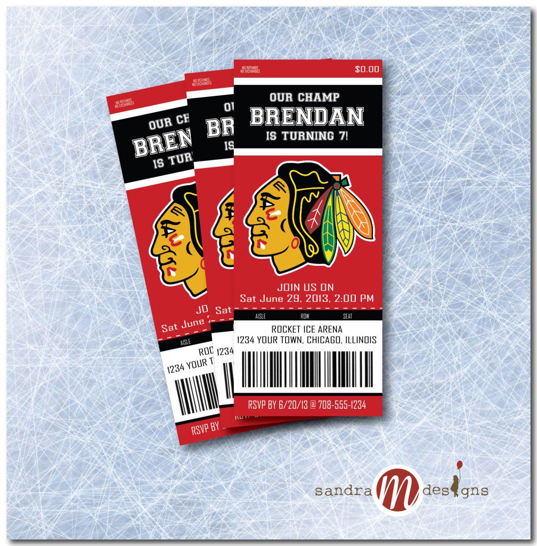 INVITATION: Blackhawks Ticket by sandraMdesign on Etsy https://www ...