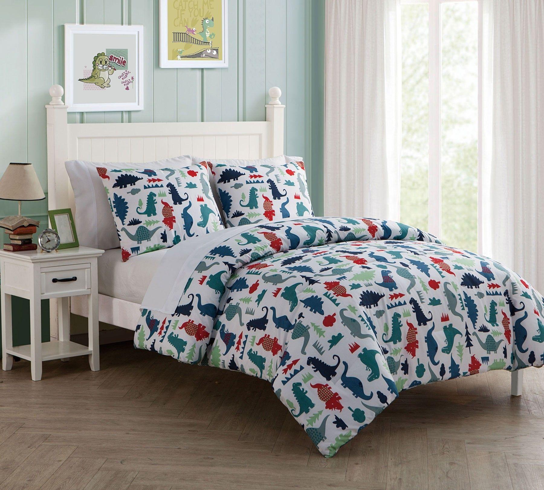 Vcny Owen Full Dinosaur Boys Bedding Comforter 7 Piece Dino Bed In A Bag Set Turn Your Child S Room Int Bed Comforters Comforter Sets Affordable Bedding Sets