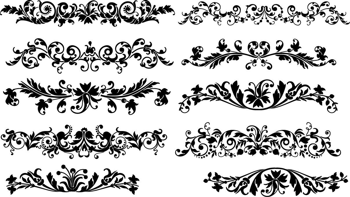 Floral Horizontal Decoration Vector Download Floral Horizontal Decoration Png Hd Floral Horiz Floral Border Design Traditional Japanese Art Silhouette Vector