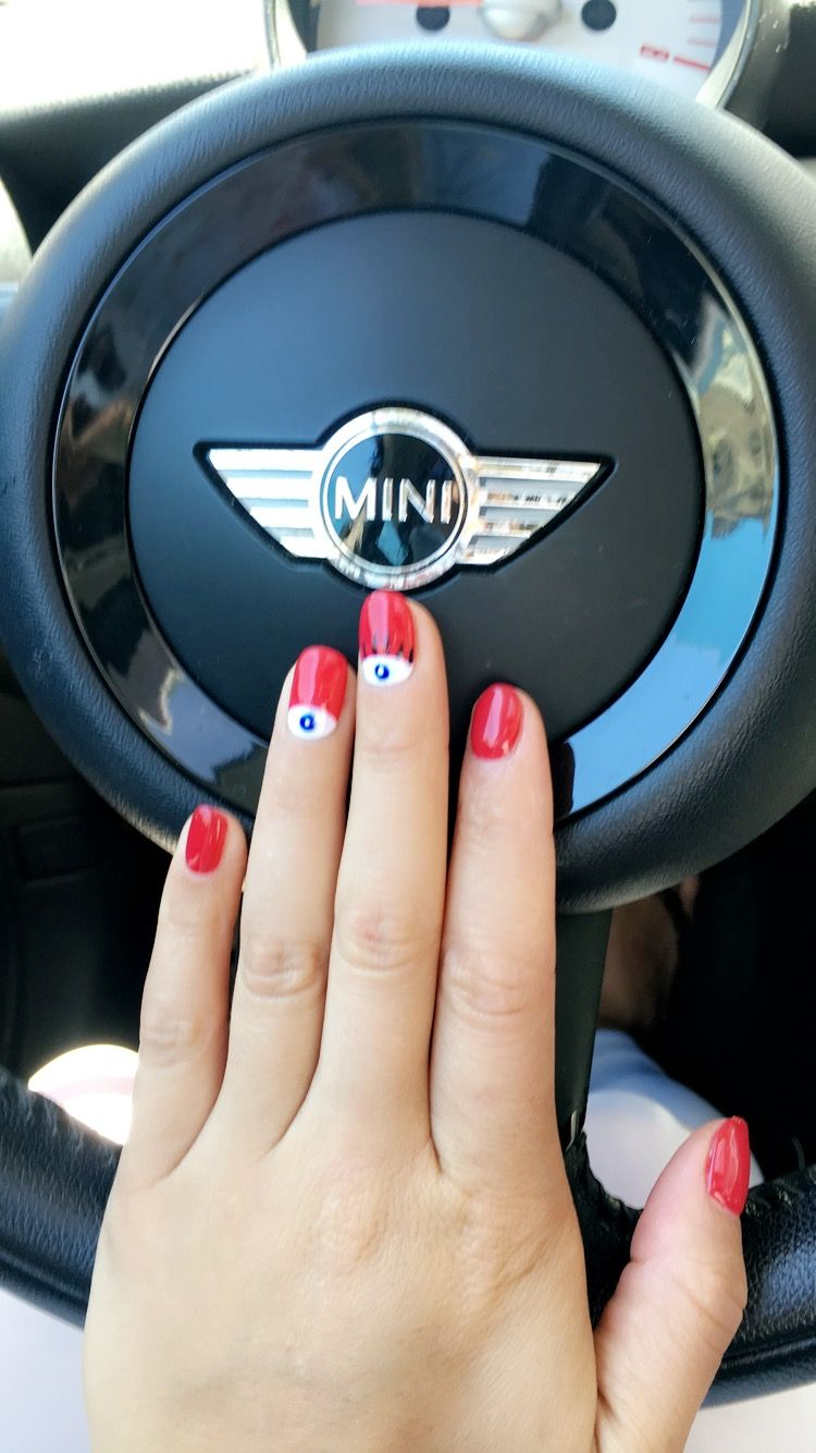 Red nails with evil eye design | Nails | Pinterest | Red nails