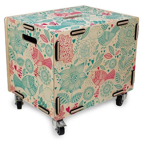 Rollbox Vogelmuster Rollcontainer Kisten Regal Und Container