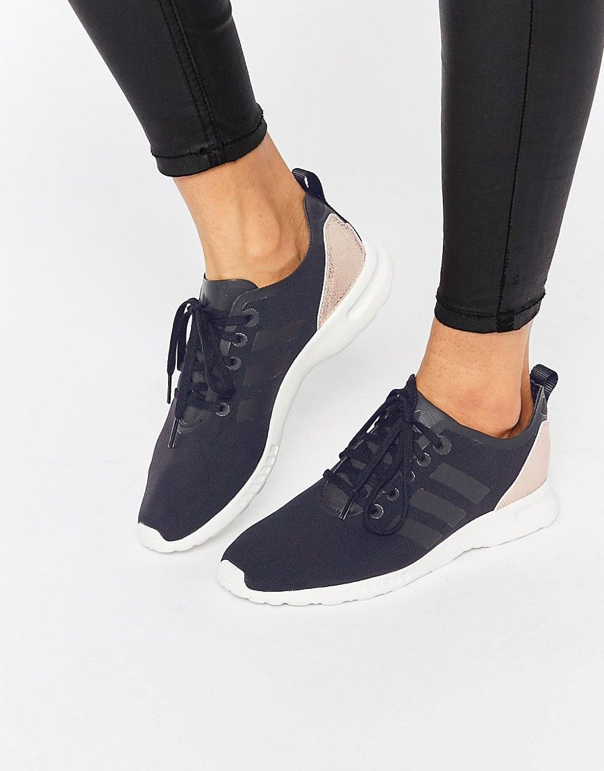 adidas Originals ZX Flux Smooth Black & Gold Sneakers at asos.com