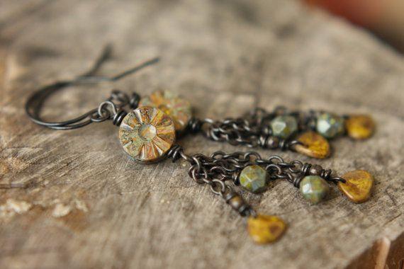 Sunflower Picasso Czech Glass Earrings by Sparrowtaledesign, $23.00