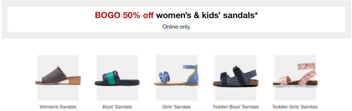 9e92310222174 Explore these ideas and more! Target   Buy 1 Get 1 50% Off Women s   Kids  Sandals + Flip Flops