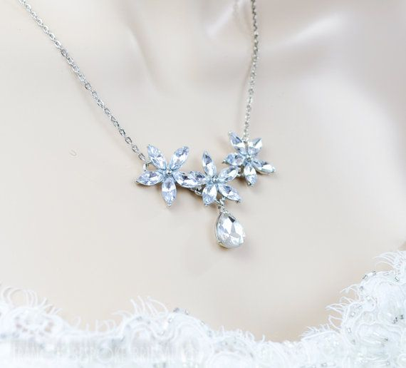 bridal necklace crystal star flower necklace, bohemian floral bib statement necklace, wedding jewelry silver crystal, ready to go