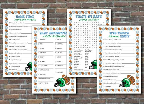 Football-themed baby shower games. Four different games: Name That Nursery Rhyme, Baby Necessities Word Scramble, Thats My Baby! Word Search, and Who Knows Mommy Best? Answer key is included as a separate pdf file. Each game is provided 2 to a page on an 11x8.5 file, with a faint dotted gray line indicating where they can be cut to separate. Since the color does not bleed off the page, you dont need to do any extra trimming. Print them yourself or take them to a copy and print business and…