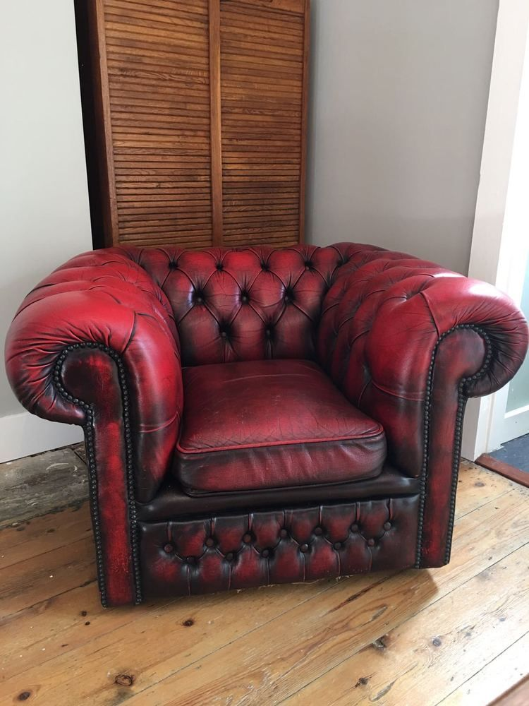 vintage antique red leather chesterfield club chair. Black Bedroom Furniture Sets. Home Design Ideas