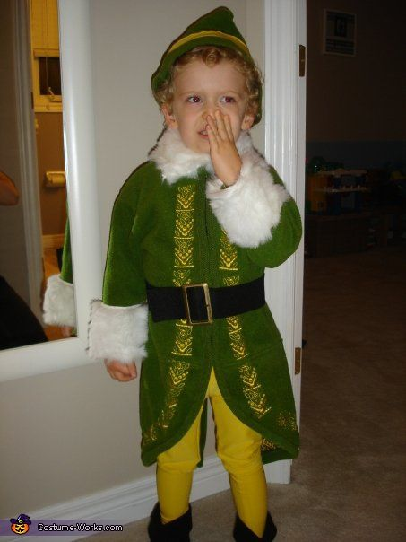 Sara My Son Is Wearing A Homemade Buddy The Elf Costume Inspiration Came From His Blonde Curly Hair Was Sewn Together
