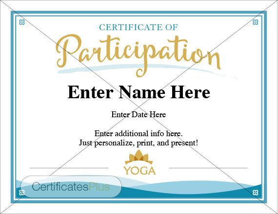 Yoga Certificate of Participation template Yoga certificates - printable certificate of participation