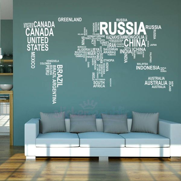 Large white world map vinyl wall decal wall display frames large white world map vinyl wall decal publicscrutiny Images
