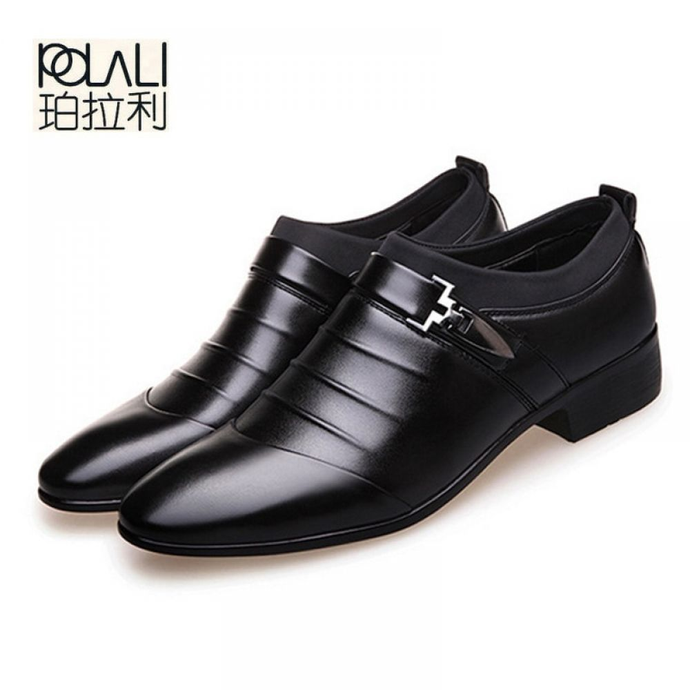 b5b71af39b POLALI 2018 black brown white men leather shoes mens pointed toe ...