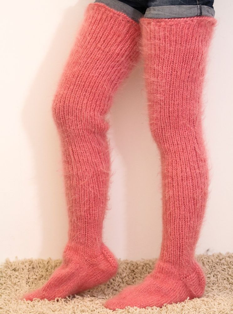 Fuzzy ivory cream mohair stockings by SuperTanya