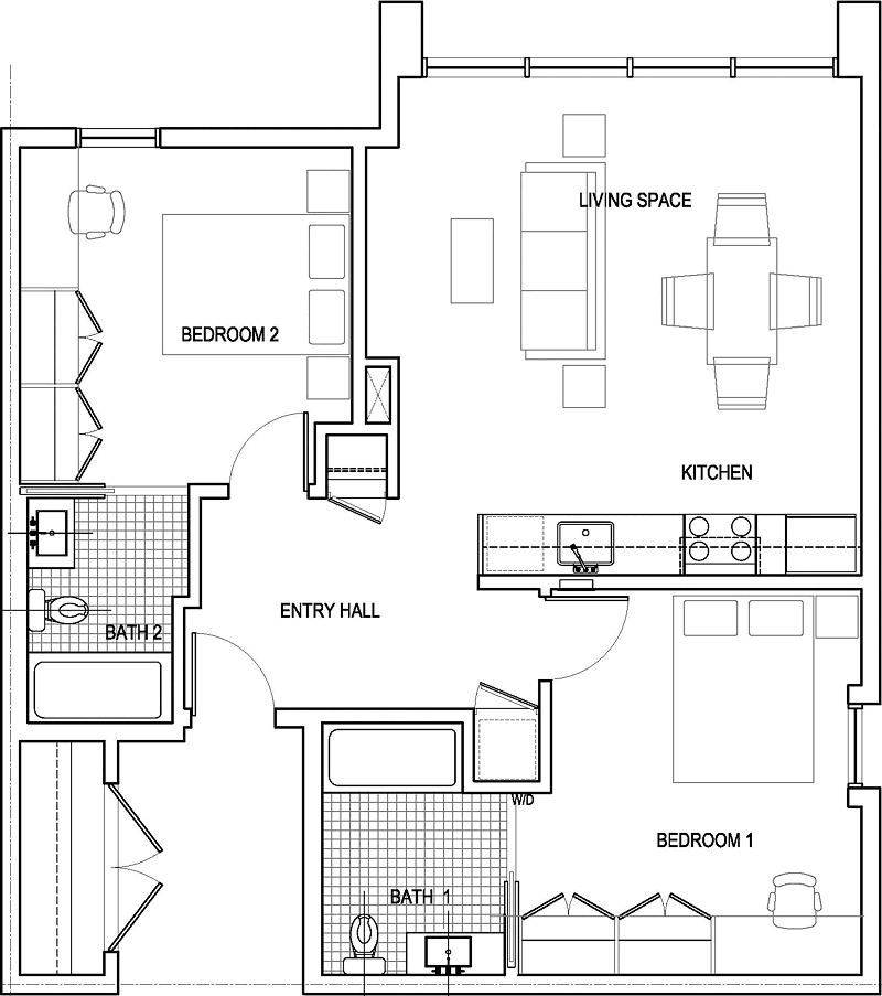 2 bedroom floor plans | Two Bedroom Floor Plan | Home-Building ...