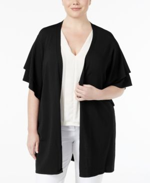 Belldini Plus Size Ruffle-Sleeve Duster Cardigan - Black 2X