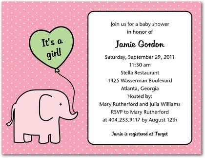 Studio Basics: Baby Shower Invitations Tiny Elephant - Front : Princess