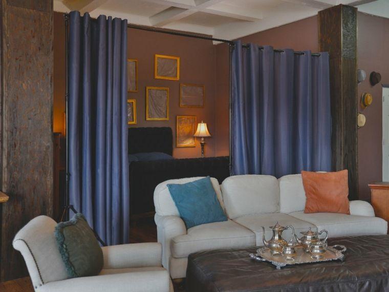 Rideau séparateur de pièce en matériaux différents pour se faire - faire une chambre dans un salon