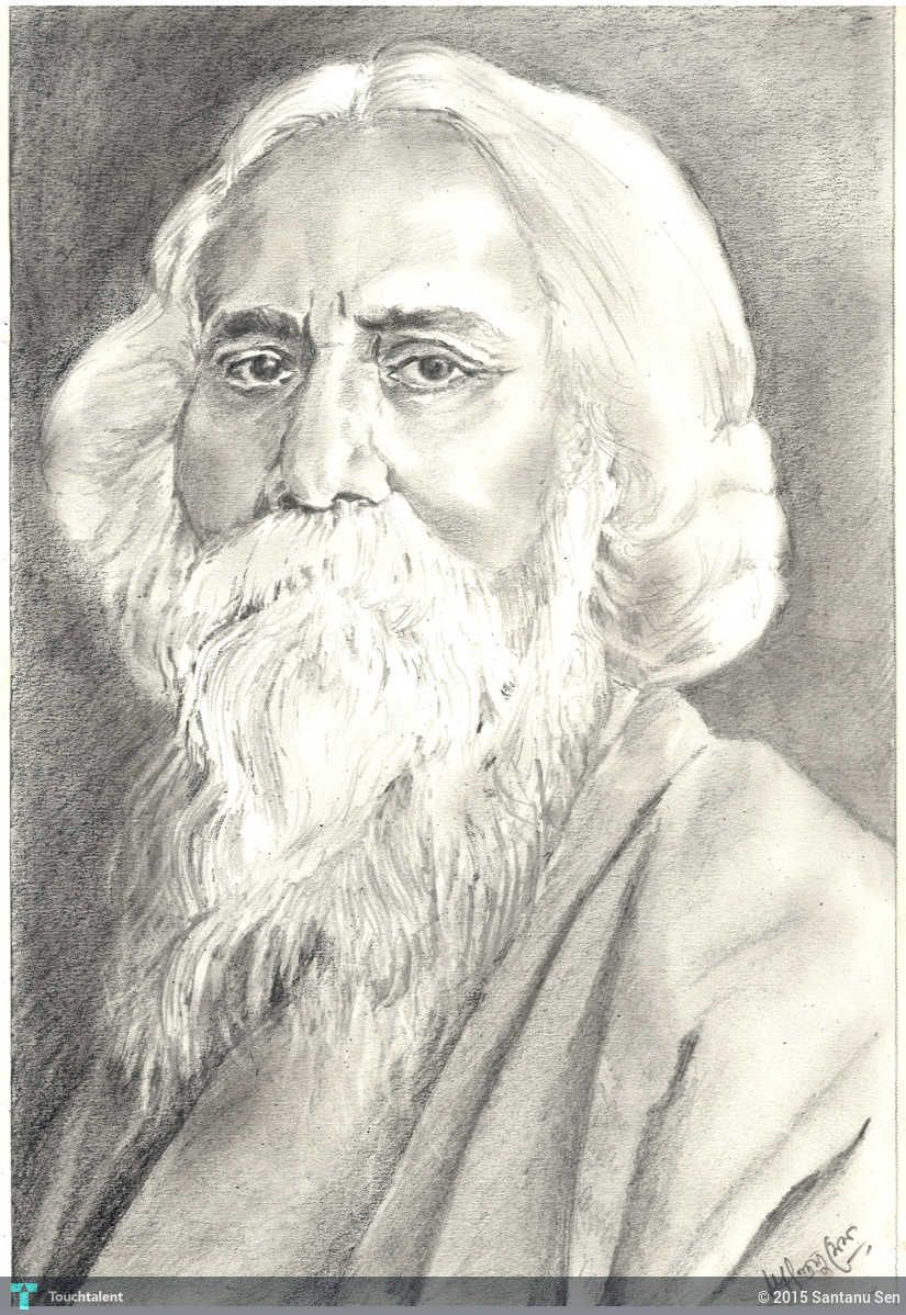 Pencil Sketch Rabindranath Tagore