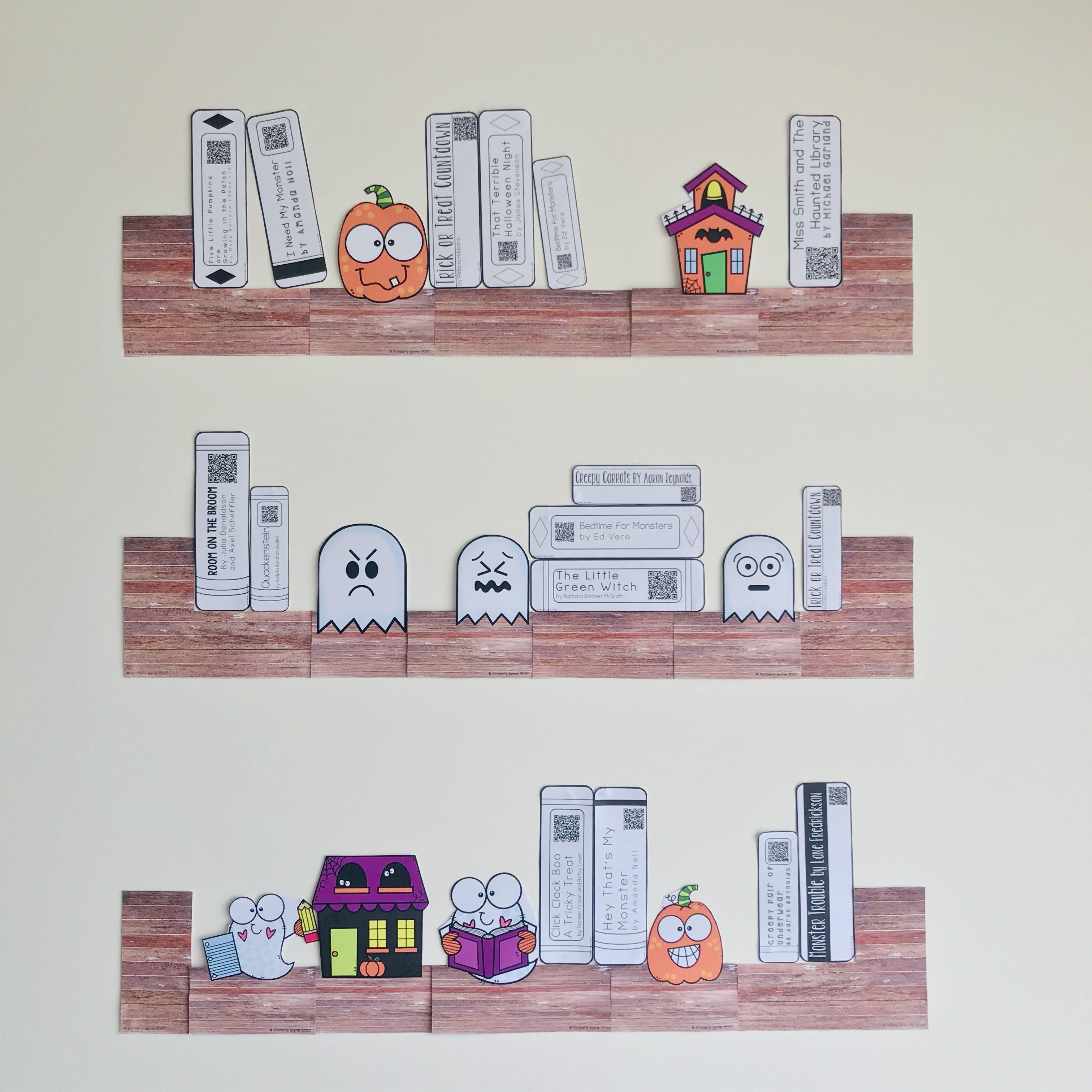 Editable Halloween Qr Code Library Book Shelf Display Listening Post Halloween Educational Qr Codes Library Holiday Activities [ 3024 x 3024 Pixel ]