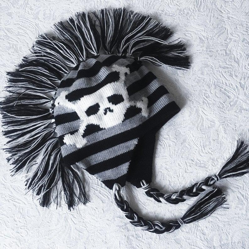 Black Mohawk Earflap Hat with skeleton boyfriend Happy new ...