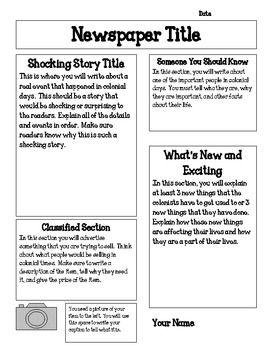 Jamestown Colony Newspaper Project 4th Grade Social Studies