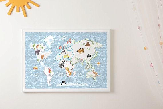 World map for kids nursery prints wm603 size a1 a2 a3 a4 world world map for kids nursery prints size world map art print kids wall decoration world map poster gumiabroncs Gallery