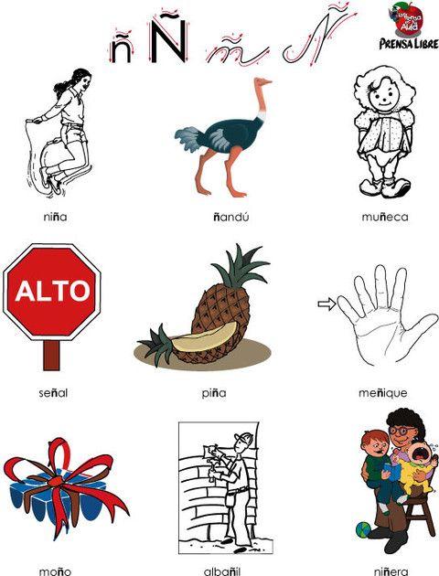 La Letra ñ Palabras Que Tienen La ñ El Alfabeto Con Sus