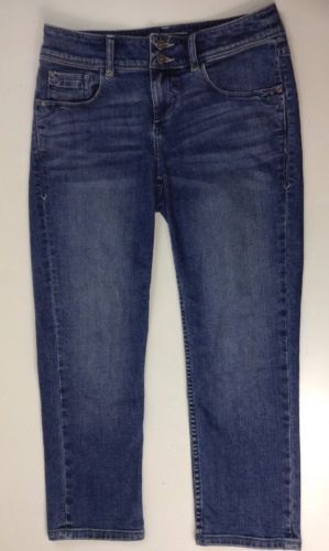 Tommy Bahama Island Crop Jeans 4 Womens Aged Vtg Wash Med Rise Capri Pants Blue