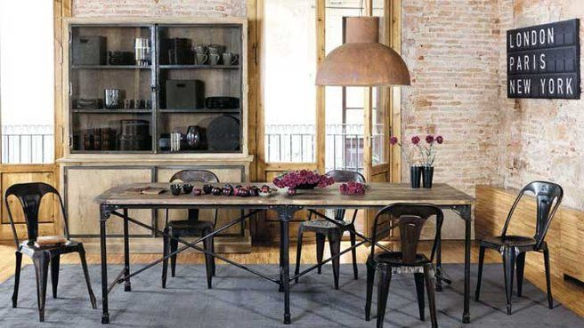 la salle manger version industrielle deco metal. Black Bedroom Furniture Sets. Home Design Ideas