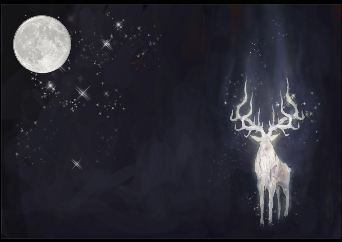 Spirit Of Forest - Moon Goddess And Stag God Symbols Female Male
