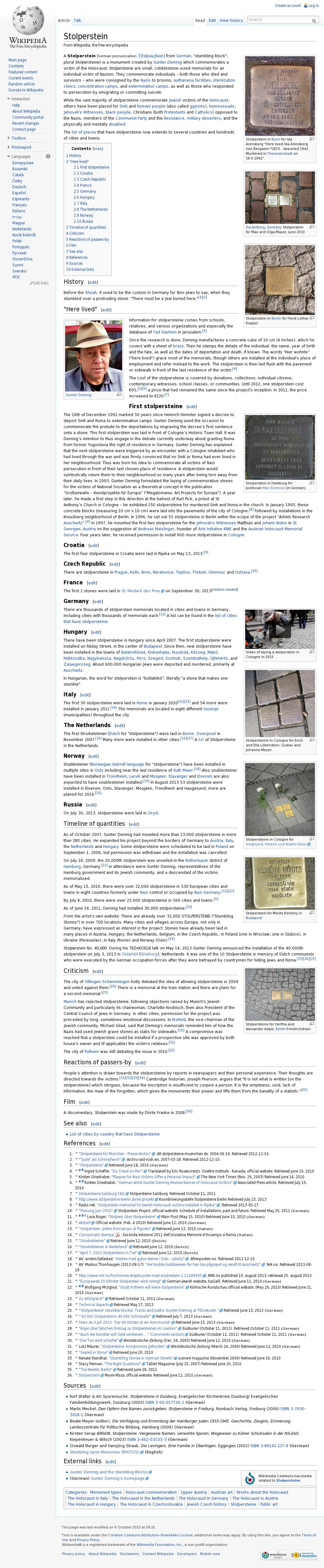 "A ""Stolperstein"" From German ""stumbling Block"" Plural"