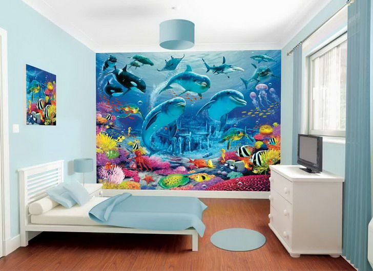 Dolphin Wall Mural Under The Sea Photo Wallpaper Girls Bedroom Home Decor