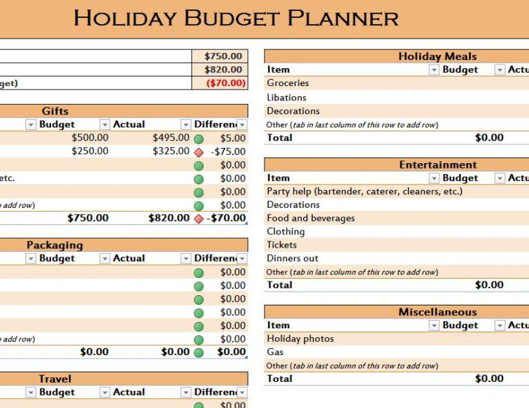 Holiday Budget Planner Template Budget Templates Pinterest