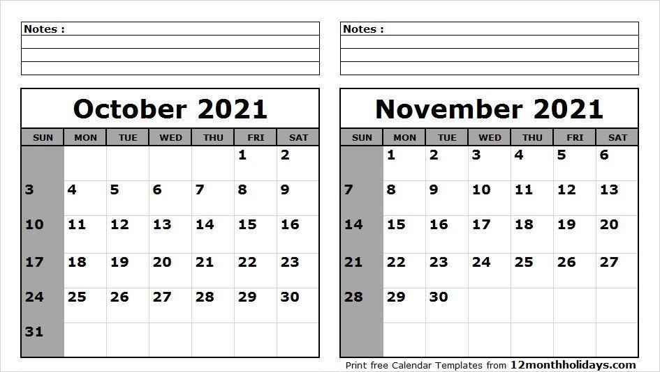 October November 2021 Calendar Printable 2018 Calendar Pinterest