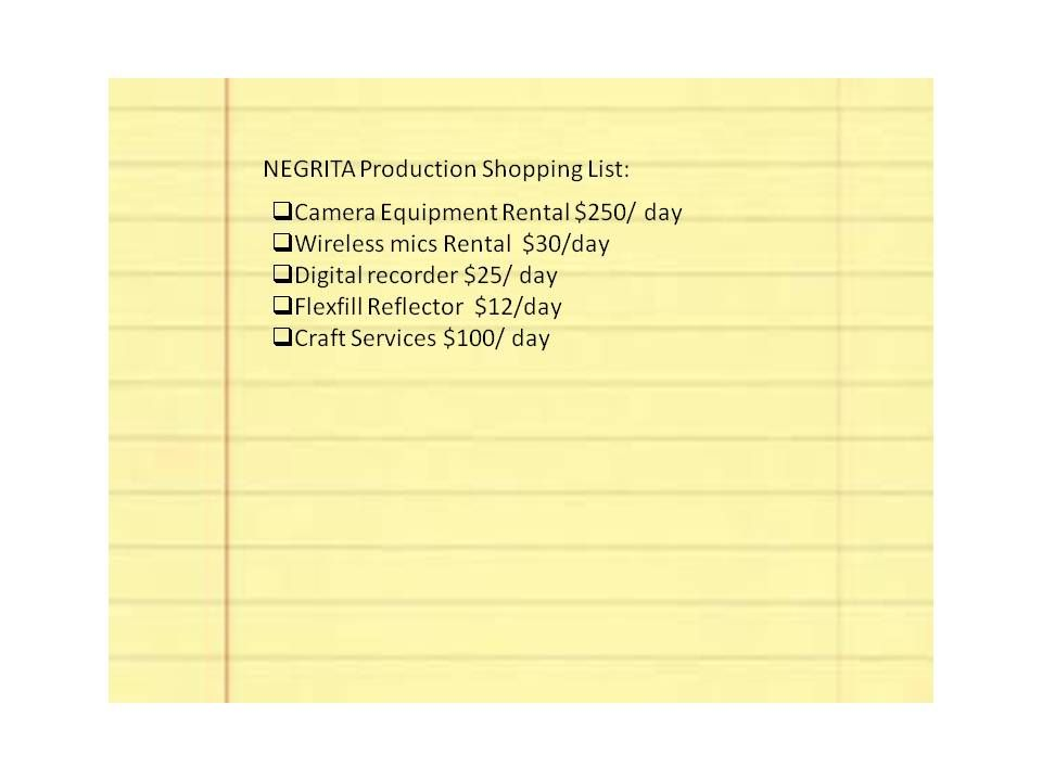 NEGRITA Documentarys Production Shopping List Here Is What 310 Will Help Us Purchase In Order