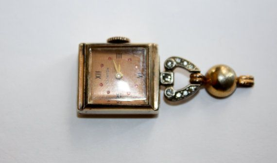Vintage Ladies Lapel Pendant Watch 1940s Jewelry by patwatty, $20.00