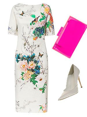 You can't go wrong with a sleek printed dress. Case in point: this white Zara dress with colourful print. Don't be afraid to add a touch of neon with the neon pink box bag EVERYONE's been wearing this season, and finish off with some white heels. Dress, £49.99, ZaraClutch, £19.99, ZaraShoes, £60, Office