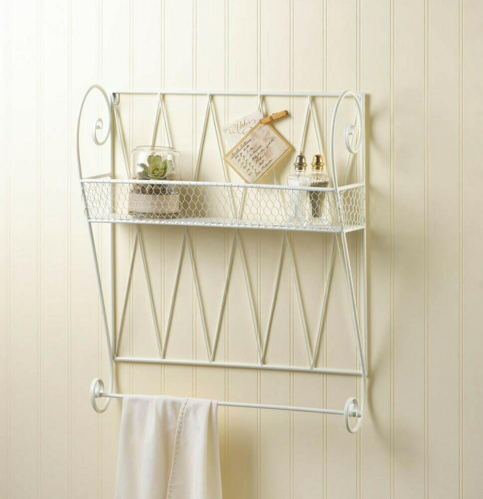 Wall Mounted Iron Shelf White With
