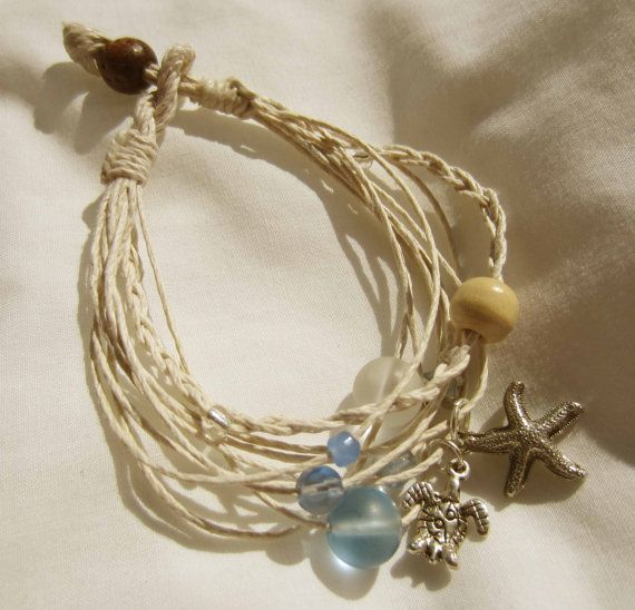 Summer White and beach glass hemp stranded by FiberAddictDesigns, $14.00
