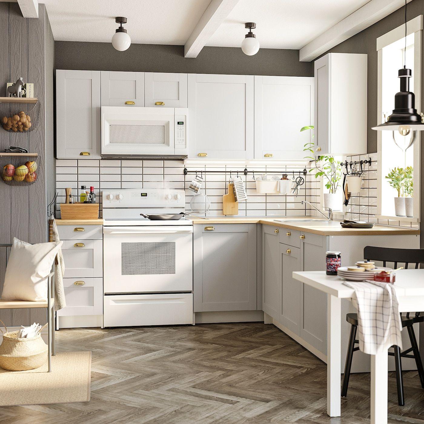 Best Ikea Knoxhult Gray Corner Kitchen In 2020 Grey Kitchens 640 x 480