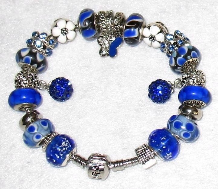 """Pandora Charm Bracelet 8 1/4"""" long with 6 Pandora Beads Blue Butterfly Themed https://t.co/OaFGXGH4vk https://t.co/njeXHJR4re"""
