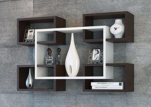 mikanos tag re murale blanc wenge tag re livres pour d coration de salon en bois dans. Black Bedroom Furniture Sets. Home Design Ideas