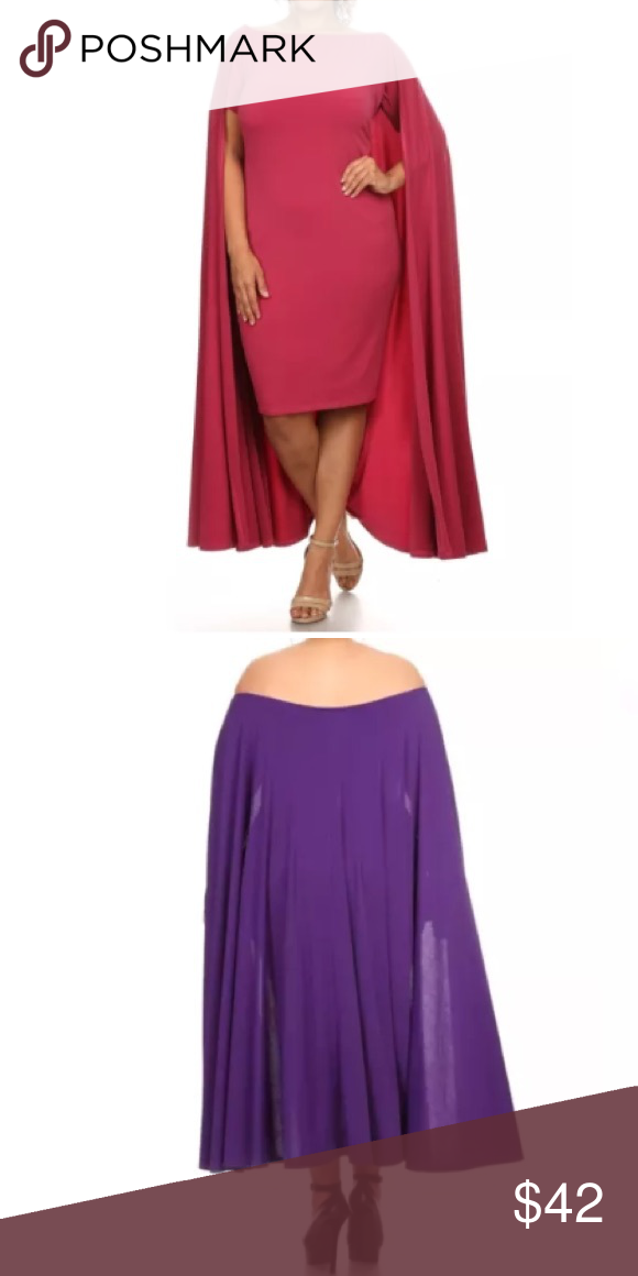 4b5907d03b30 Plus Raspberry Cape Off Shoulder Dress Cocktail This is such a fun dress!  Very trendy