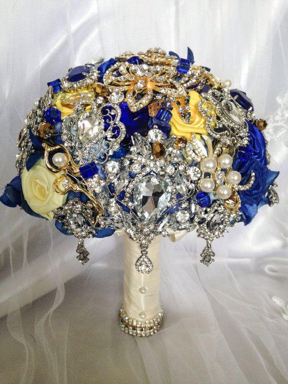 Deposit On Custom Royal Blue Mustard Yellow Gold White Wedding Bling Diamond Broach Bouquet