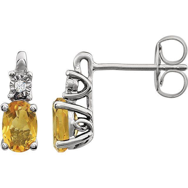 14K White Gold Gemstone Diamond Accent Earrings