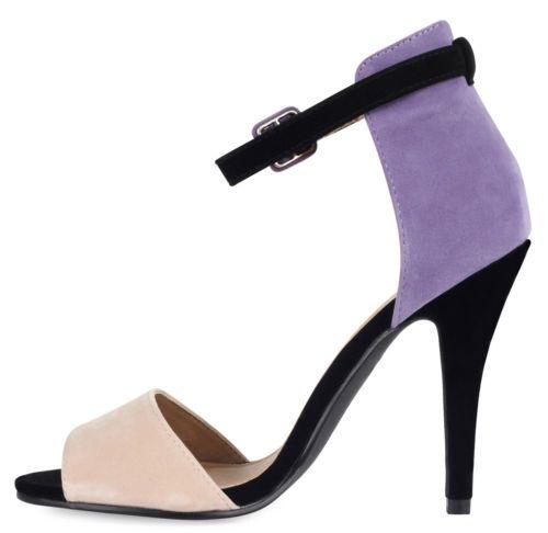 Ladies High Stiletto Heel Open Toe Back Ankle Strap Faux Suede Sandals Shoes 3-8   eBay